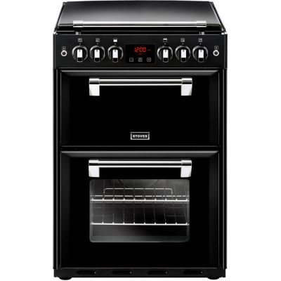 Stoves Richmond600G 60cm Gas Cooker with Full Width Electric Grill - Black - A/A Rated Best Price, Cheapest Prices
