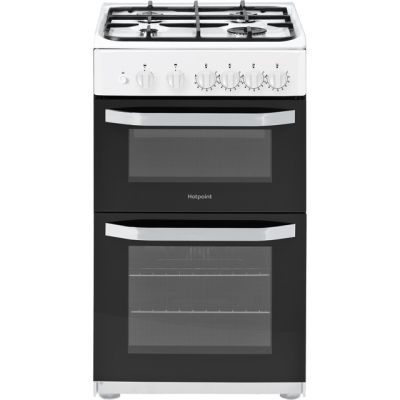 Hotpoint Cloe HD5G00KCW Gas Cooker with Full Width Gas Grill - White - A Rated Best Price, Cheapest Prices