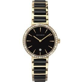 Accurist Ladies Black Ceramic & Gold Stainless Steel Watch Best Price, Cheapest Prices
