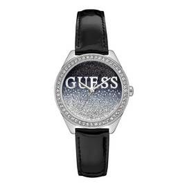 Guess Ladies Black Leather Strap Watch Best Price, Cheapest Prices