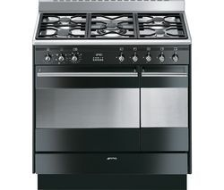 SMEG Concert 90 cm Dual Fuel Range Cooker - Black & Stainless Steel Best Price, Cheapest Prices