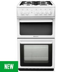 Hotpoint HD5G00KCW 50cm Twin Cavity Gas Cooker - White Best Price, Cheapest Prices