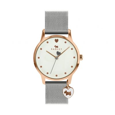 Radley Silver Mesh Bracelet Watch and Heart Dog Charm Best Price, Cheapest Prices