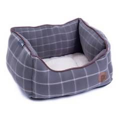 Petface Small Square Dog Bed - Grey Window Check Best Price, Cheapest Prices