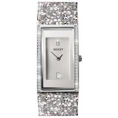 Seksy Rocks Silver Stone Set Strap Watch