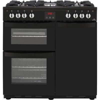 Newworld VISION90G 90cm Gas Range Cooker with Electric Fan Oven - Black - A Rated Best Price, Cheapest Prices