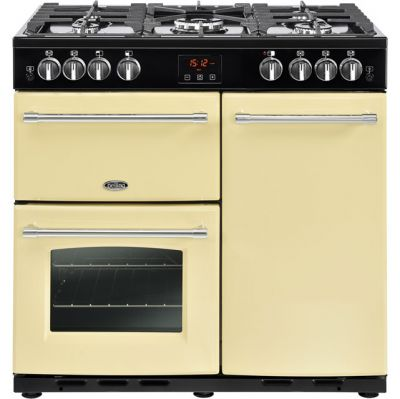 Belling Farmhouse90G 90cm Gas Range Cooker with Electric Fan Oven - Cream - B/A Rated Best Price, Cheapest Prices