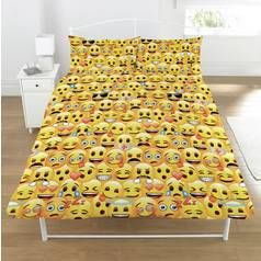 Emoji Multi Coloured Duvet Cover Set - Double Best Price, Cheapest Prices