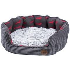 Petface Grey Bamboo & Jumbo Cord Deli Bed - Large Best Price, Cheapest Prices