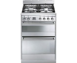 Smeg Concert SUK62MX8 60cm Dual Fuel Cooker - Stainless Steel - A Rated Best Price, Cheapest Prices
