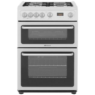 Hotpoint Newstyle HARG60P 60cm Gas Cooker with Variable Gas Grill - White - A+/A Rated Best Price, Cheapest Prices
