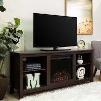 Espresso Dark Wood TV Unit with Electric Fire Insert Best Price, Cheapest Prices