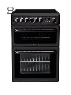 Hotpoint Newstyle HAE60K 60cm Double Oven Electric Cooker with Ceramic Hob - Black Best Price, Cheapest Prices