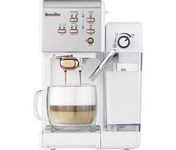 BREVILLE One-Touch VCF108 Coffee Machine - White & Rose Gold Best Price, Cheapest Prices