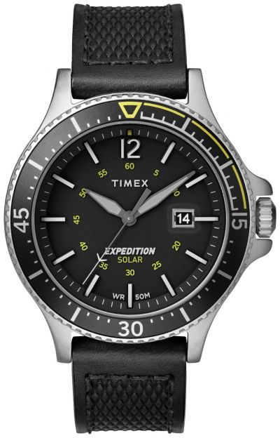 Timex Men's Solar Powered Black Leather Strap Watch Best Price, Cheapest Prices