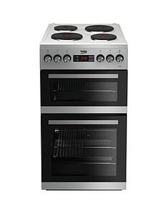 Beko KDV555AS 50cm Double Oven Electric Cooker - Silver with Connection Best Price, Cheapest Prices