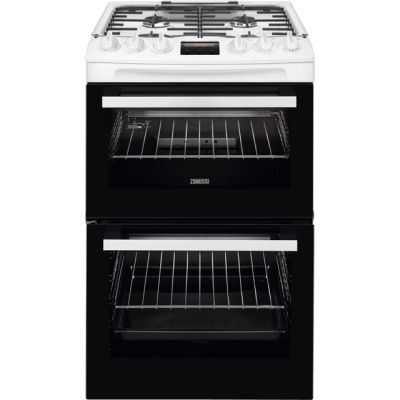 Zanussi ZCG43250WA 55cm Gas Cooker with Full Width Electric Grill - White - A/A Rated Best Price, Cheapest Prices