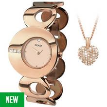 Seksy Ladies' Eclipse Rose Gold Plated Watch and Pendant Set Best Price, Cheapest Prices