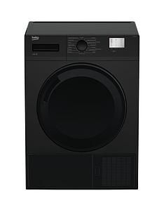 Beko DTGC8000B 8kg Load, Full Size Condenser Sensor Tumble Dryer - Black Best Price, Cheapest Prices
