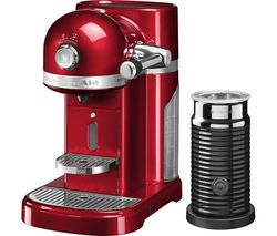 NESPRESSO by KitchenAid Artisan 5KES0504BCA Coffee Machine with Aeroccino 3 - Candy Apple Best Price, Cheapest Prices