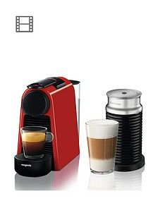 Nespresso Essenza Mini Coffee Machine And Aeroccino By Magimix - Ruby Red Best Price, Cheapest Prices