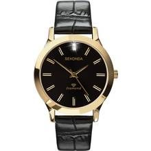 Sekonda Men's Black Leather Strap Diamond Watch Best Price, Cheapest Prices
