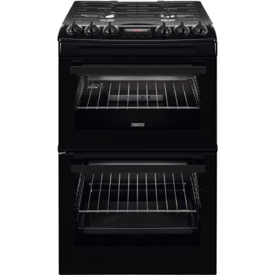 Zanussi ZCG43250BA 55cm Gas Cooker with Full Width Electric Grill - Black - A/A Rated Best Price, Cheapest Prices