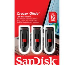 SANDISK Cruzer Glide USB 2.0 Memory Stick - 16 GB, Pack of 3 Best Price, Cheapest Prices