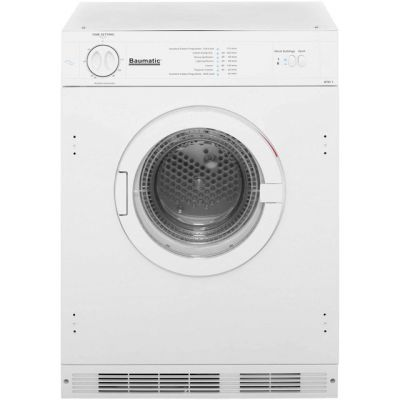 Baumatic BTD1 Built In Vented Tumble Dryer - White - C Rated Best Price, Cheapest Prices