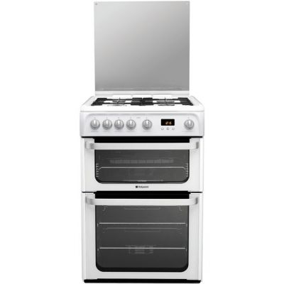 Hotpoint Ultima HUG61P 60cm Gas Cooker with Variable Gas Grill - White Best Price, Cheapest Prices