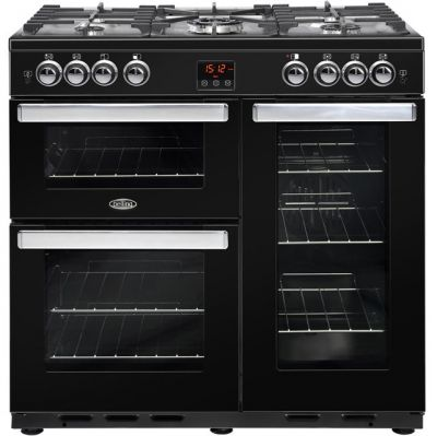 Belling Cookcentre90G 90cm Gas Range Cooker with Electric Fan Oven - Black - A/A Rated Best Price, Cheapest Prices