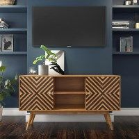 Freya Solid Wood TV Unit with Storage Cupboards - Mid Century Style - Extra Large Best Price, Cheapest Prices