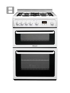 Hotpoint Newstyle HAGL60P 60cm Double Oven Gas Cooker with FSD - White Best Price, Cheapest Prices