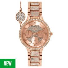 Spirit Lux Ladies' Rose Glitter Dial Watch and Bracelet Set Best Price, Cheapest Prices