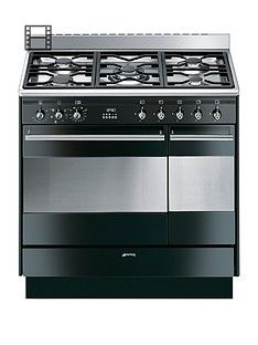 Smeg SUK92MBL9 90CM Double Oven Dual Fuel Concert Range Cooker - Black Best Price, Cheapest Prices