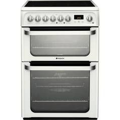 Hotpoint HUE62P 60cm Double Oven Electric Cooker - White Best Price, Cheapest Prices