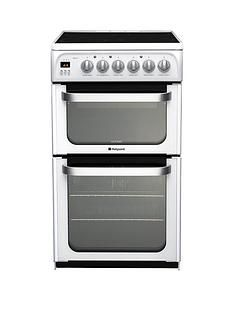 Hotpoint Ultima HUE53PS 50cm Electric Cooker with Ceramic Hob - White Best Price, Cheapest Prices