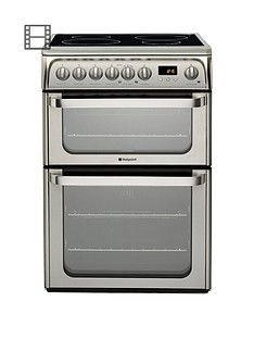 Hotpoint Ultima HUI611X 60cm Double Oven Electric Cooker with Induction Hob - Stainless Steel Best Price, Cheapest Prices