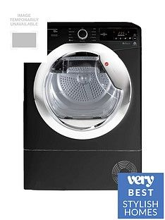 Hoover Dynamic Next DXC10TCEB 10kgAquavision Condenser Tumble Dryer with One Touch - Black/Chrome Best Price, Cheapest Prices