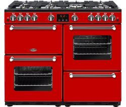 BELLING Kensington 100G Gas Range Cooker - Red & Chrome Best Price, Cheapest Prices