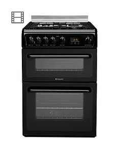 Hotpoint Newstyle HAGL60K 60cm Double Oven Gas Cooker with FSD - Black Best Price, Cheapest Prices