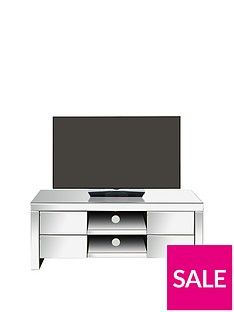 Monte Carlo Ready Assembled Mirrored TV Unit - fits up to 50 inch TV Best Price, Cheapest Prices