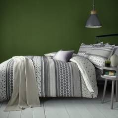 Fusion Retrace Stripe Charcoal Bedding Set - Single Best Price, Cheapest Prices