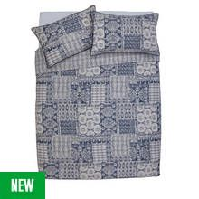 Argos Home Navy Tile Sateen Bedding Set - Double Best Price, Cheapest Prices