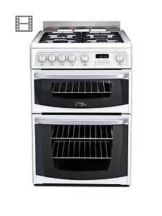 Cannon By Hotpoint CH60GCIW 60cm Double Oven Gas Cooker with FSD - White Best Price, Cheapest Prices