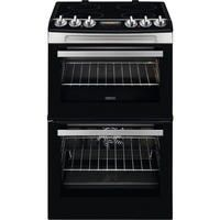 Zanussi ZCV46250XA 55cm Double Oven Electric Cooker With Ceramic Hob - Stainless Steel Best Price, Cheapest Prices