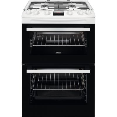 Zanussi ZCG63250WA 60cm Gas Cooker with Full Width Electric Grill - White - A Rated Best Price, Cheapest Prices