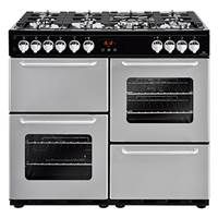 New World Traditional 100DF 100cm Dual Fuel Range Cooker in Silver 444444202 Best Price, Cheapest Prices