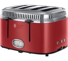 RUSSELL HOBBS Retro Red 4SL 21690 4-Slice Toaster - Red Best Price, Cheapest Prices