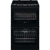 Zanussi ZCV46250BA 55cm Double Oven Electric Cooker With Ceramic Hob - Black Best Price, Cheapest Prices